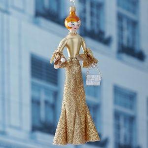 De Carlini Gold Glitter Skirt Christmas Ornament
